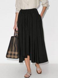 Jil Sander Nasty asymmetric pleated midi skirt ~ essential black skirts ~ wardrobe staples
