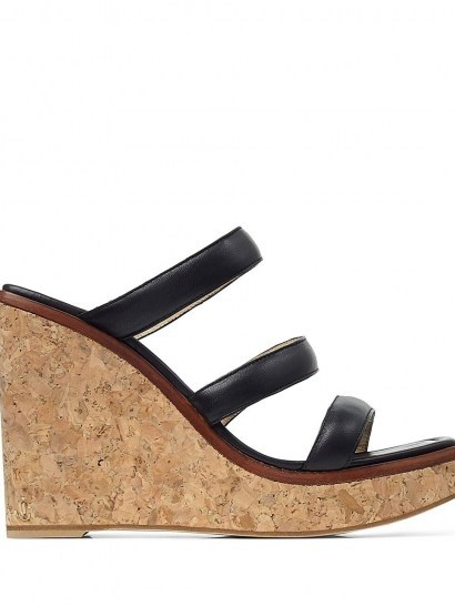 Jimmy Choo Athenia wedge sandals 110mm / three strap cork wedges - flipped