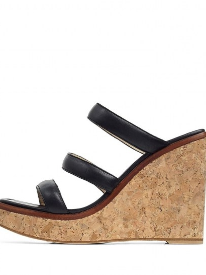 Jimmy Choo Athenia wedge sandals 110mm / three strap cork wedges