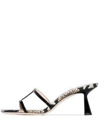 Jimmy Choo Ria snake-effect mules – square-toe sculpted heel mule