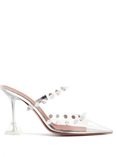 AMINA MUADDI Julia crystal-embellished transparent-PVC mules ~ glamorous transparent mule - flipped