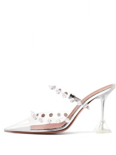 AMINA MUADDI Julia crystal-embellished transparent-PVC mules ~ glamorous transparent mule