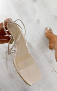ikrush Julz Lace Up Heels in Nude – clear strap barely there sandals