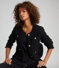 REISS JUNE SHORT BOUCLE JACKET BLACK / classic textured jackets