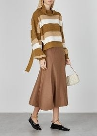 JW ANDERSON Brown striped merino wool jumper ~ slouchy jumpers