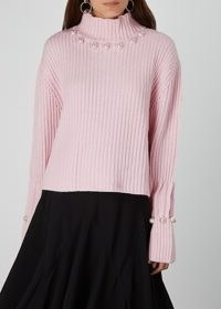 JW ANDERSON Pink embellished wool-blend jumper | luxe high neck knits