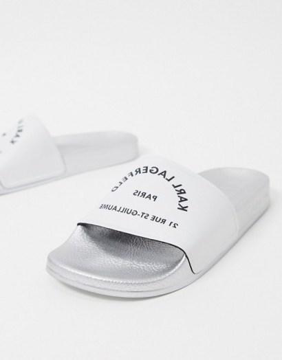 Karl Lagerfeld Kondo slide in white   designer slides - flipped