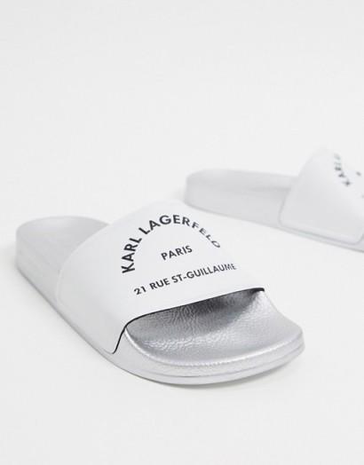 Karl Lagerfeld Kondo slide in white   designer slides