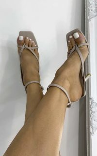 ikrush Kendall Strappy High Heels in Nude – going out heels