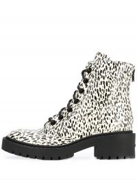 Kenzo paint-splatter 55mm ankle boots / black and white lace up boot