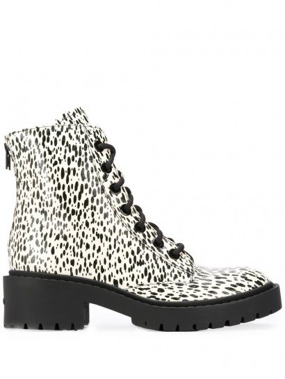 Kenzo paint-splatter 55mm ankle boots / black and white lace up boot - flipped
