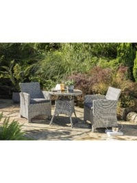 John Lewis – KETTLER Palma 2-Seater Round Garden Bistro Table & Chairs Set, White Wash