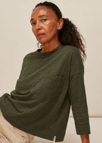 WHISTLES COTTON POCKET TOP KHAKI / dark green drop shoulder tee / ereryday wardrobe essentials