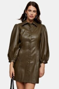 Topshop Khaki PU Shirt Mini Dress ~ dark green front button dresses