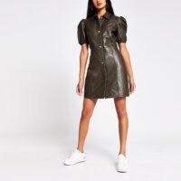 River Island Khaki puff sleeve shirt dress | dark green leather dresses