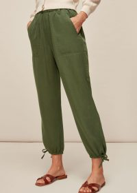 WHISTLES WASHED TIE HEM TROUSER KHAKI / casual green trousers / essential weekend style