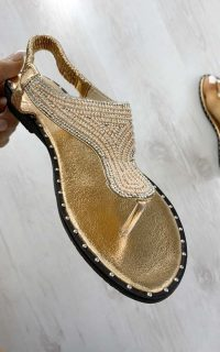 ikrush Khloe Diamante Embellished Sandals in Champagne