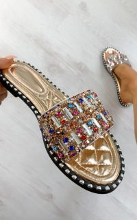 ikrush Kizzy Multi Colour Embellished Sandals in Rose gold – crystal flats