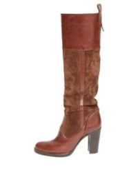 CHLOÉ Knee-high leather and suede boots ~ luxury brown boots