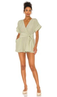 L'Academie The Leah Romper Olive Green