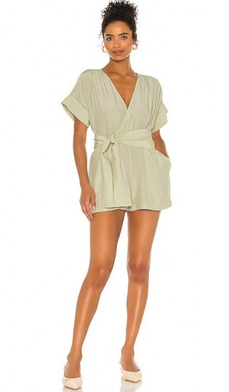 L'Academie The Leah Romper Olive Green - flipped