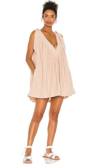 L'Academie The Maelys Mini Dress ~ nude loose fit dresses ~ tie shoulder detail - flipped