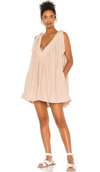 L'Academie The Maelys Mini Dress ~ nude loose fit dresses ~ tie shoulder detail
