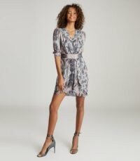 REISS LACEY PRINTED MIDI DRESS GREY ~ V-neck gathered waist dresses