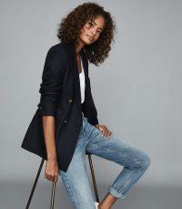 REISS LARSSON DOUBLE BREASTED TWILL BLAZER NAVY / dark blue smart-casual jacket