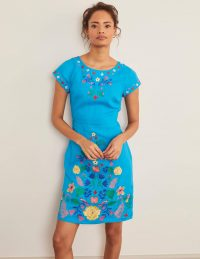 Boden Laura Linen Embroidered Dress – Blue Lagoon / flower embroidery