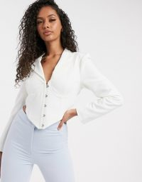 Lavish Alice tie back corset blazer top in white | fitted blazers