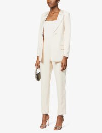 LAVISH ALICE V-neck single-breasted crepe blazer champagne
