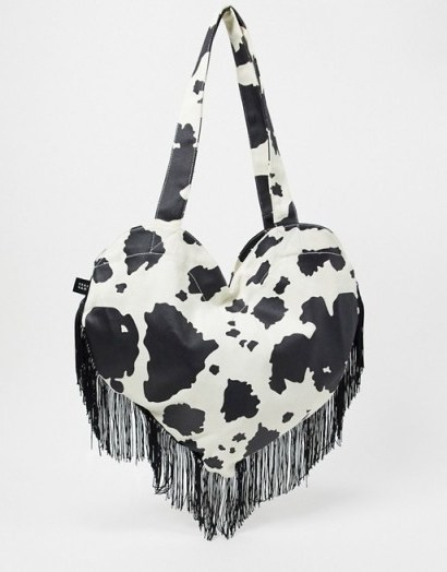 Lazy Oaf have a cow heart fringed tote bag / mono print bags / hearts - flipped