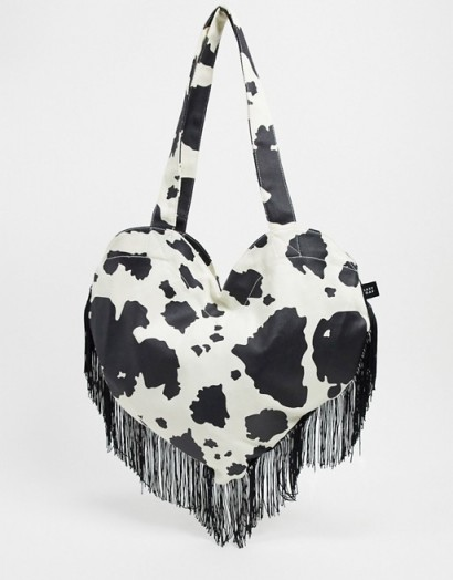 Lazy Oaf have a cow heart fringed tote bag / mono print bags / hearts
