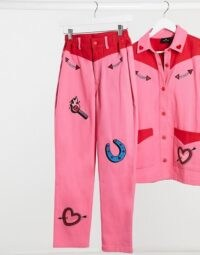 Lazy Oaf straight leg western jeans with embroidered patches co-ord ~ pink & red together