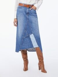 Aaymmetric skirts | FRAME Le Midi Skirt Patch Work Cahill | frayed hemlines