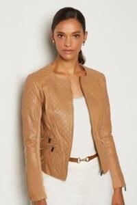 KAREN MILLEN Leather Quilted Biker Jacket Tan / casual luxe jackets