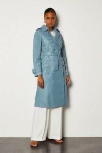 KAREN MILLEN Leather Trench Mac Pale Blue / luxury belted coats