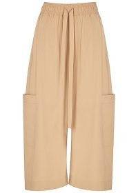 LEE MATHEWS Kei cropped wide-leg cotton trousers / casual drawstring waist pants
