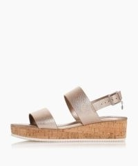DUNE Lenniie Pewter Double Strap Flatform Sandals / strappy metallic slingbacks