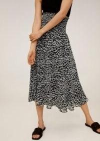 MANGO IRENE Leopard midi skirt | smocked waist skirts
