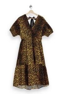 TOPSHOP Leopard Print Pop Bow Midi Dress