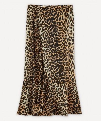 GANNI Leopard Silk-Blend Ruffle Skirt - flipped