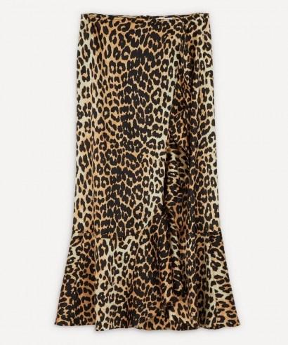 GANNI Leopard Silk-Blend Ruffle Skirt