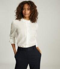 REISS LIDDY RUFFLE DETAILED SHIRT WHITE / ruffled neck blouse