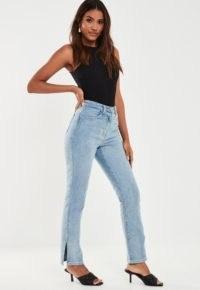 Missguided – light blue wrath split hem jeans