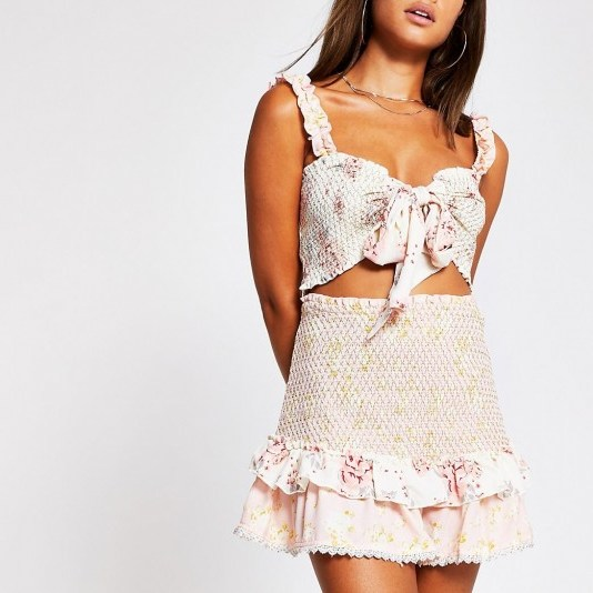 RIVER ISLAND Light pink floral shirred beach skirt / ruffle trimmed holiday skirts / feminine poolside fashion - flipped