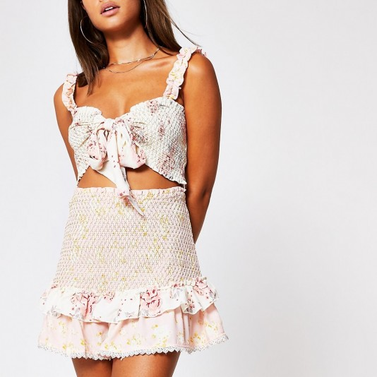 RIVER ISLAND Light pink floral shirred beach skirt / ruffle trimmed holiday skirts / feminine poolside fashion