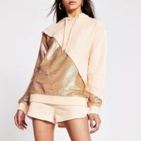 RIVER ISLAND Light pink sequin mix hoodie / casual glamour / sequinned hoodies