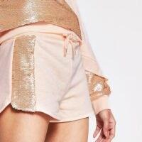 RIVER ISLAND Light pink side sequin paneled runner short / sequinned shorts / sports fashion